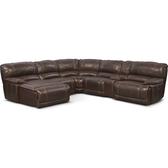 Living Room Furniture - St. Malo 6-Piece Power Reclining Sectional with Left-Facing Chaise - Brown