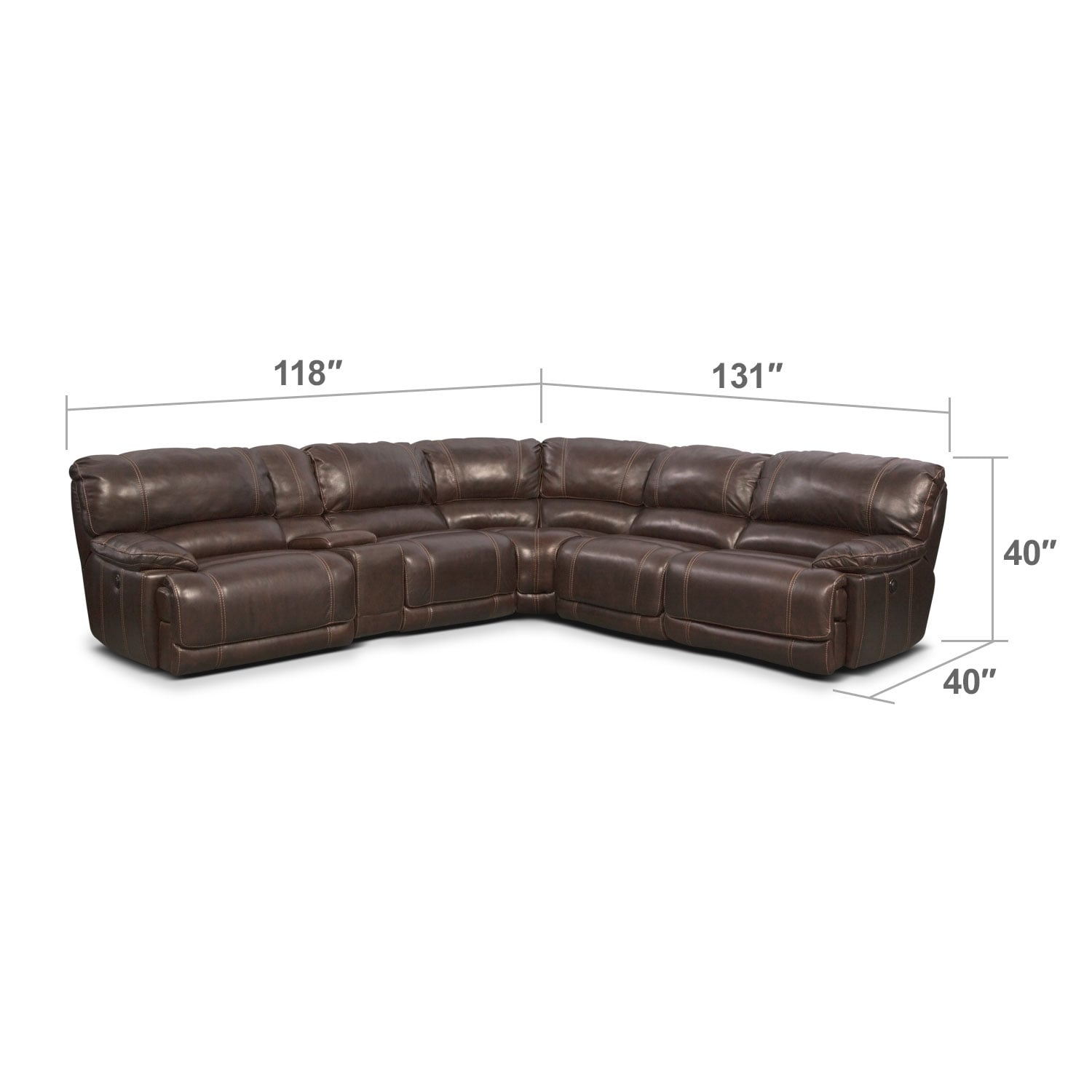 Living Room Furniture - St. Malo 6-Piece Power Reclining Sectional with Modular Console - Brown