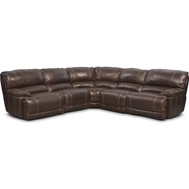 Living Room Furniture - St. Malo 5-Piece Power Reclining Sectional with 3 Reclining Seats