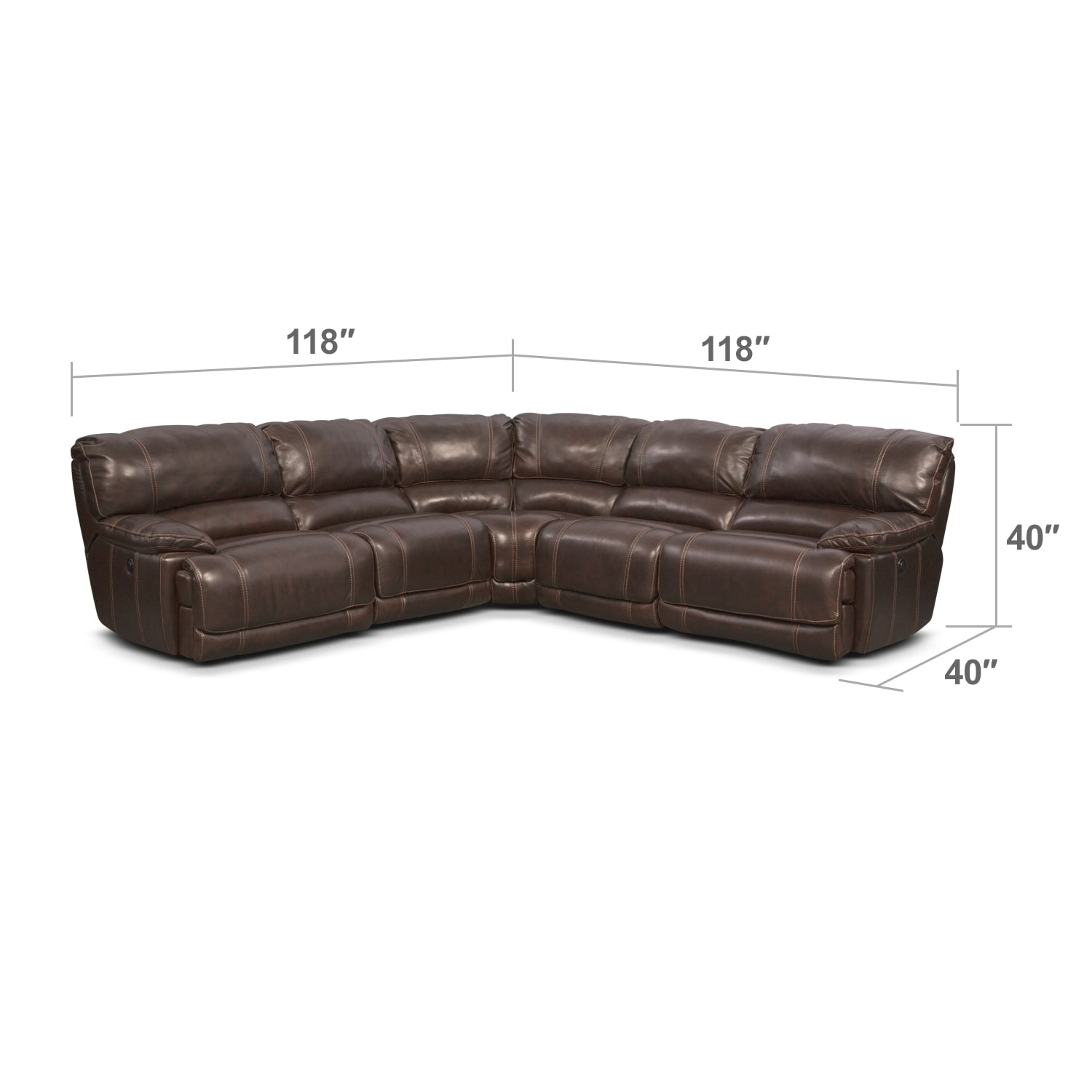 Living Room Furniture - St. Malo 5-Piece Right-Facing Power Reclining Sectional - Brown