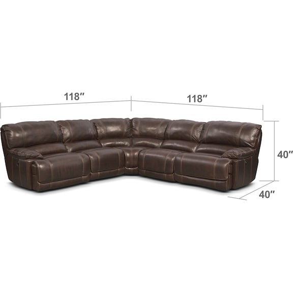 Living Room Furniture - St. Malo 5-Piece Power Reclining Sectional with Chaise