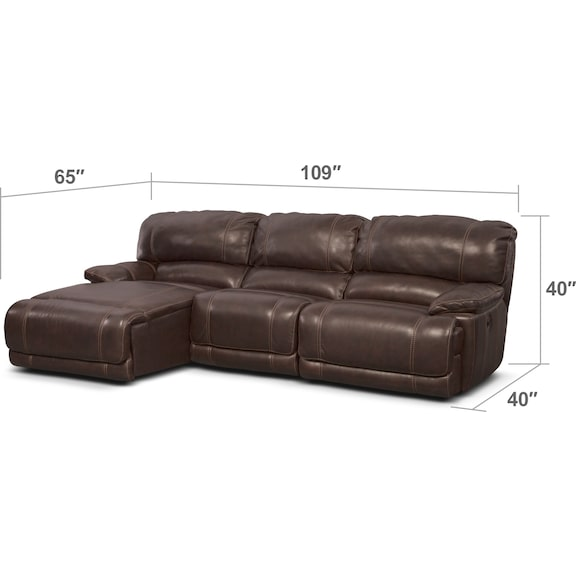 Living Room Furniture - St. Malo 3-Piece Power Reclining Sectional with Left-Facing Chaise - Brown