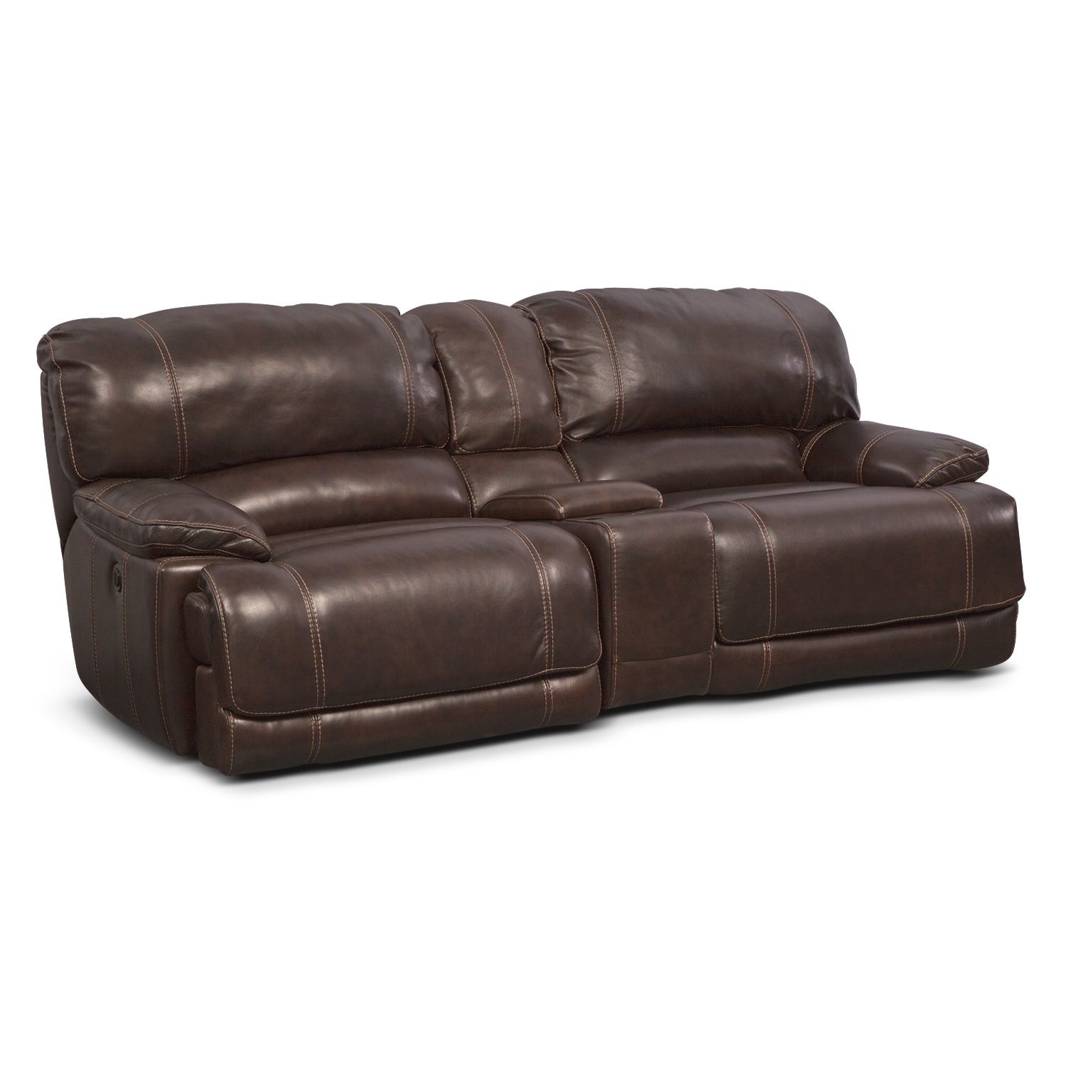 St Malo Power Reclining Sofa with Console Brown
