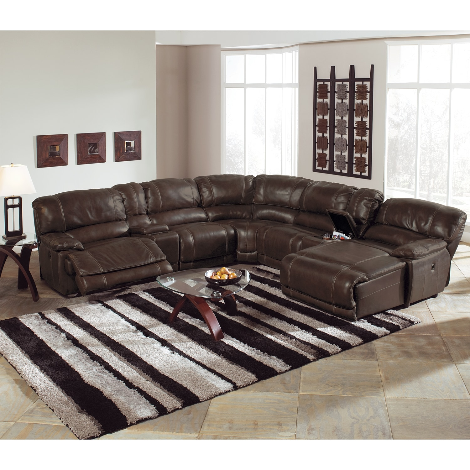 st malo 6 piece power reclining sectional with right facing chaise brown value city. Black Bedroom Furniture Sets. Home Design Ideas