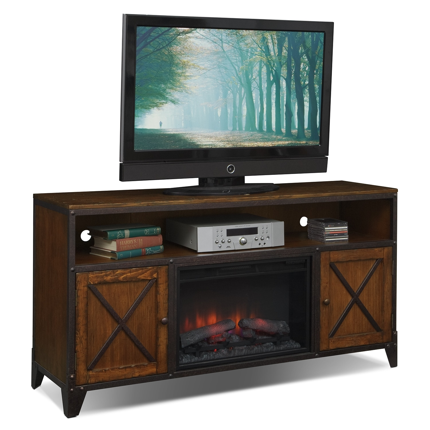 Shortline Fireplace TV Stand with Traditional Insert - Distressed Pine