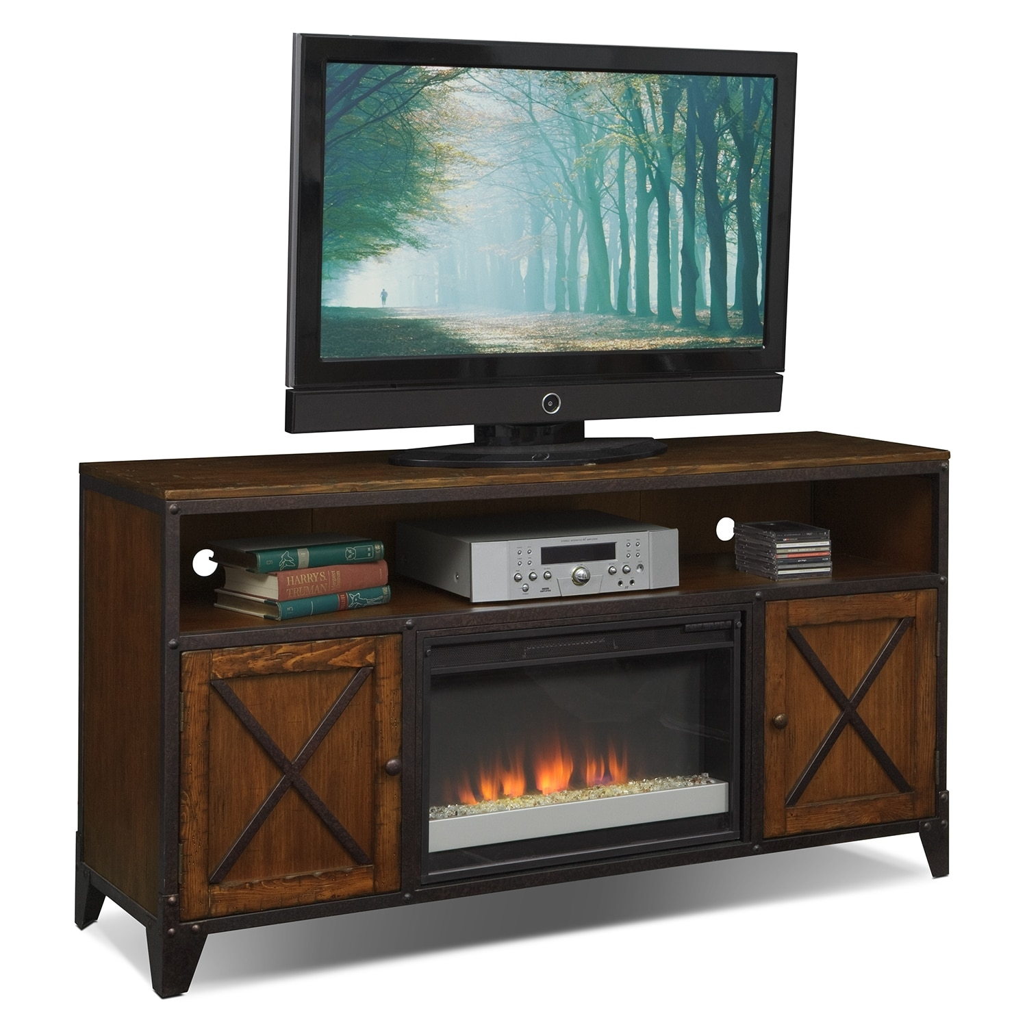 Shortline Fireplace TV Stand with Contemporary Insert - Distressed Pine