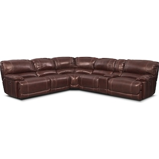 St. Malo 6-Piece Power Reclining Sectional with Modular Console - Burgundy