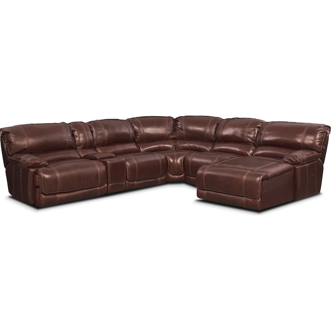 Living Room Furniture - St. Malo 6-Piece Power Reclining Sectional with Right-Facing Chaise - Burgundy
