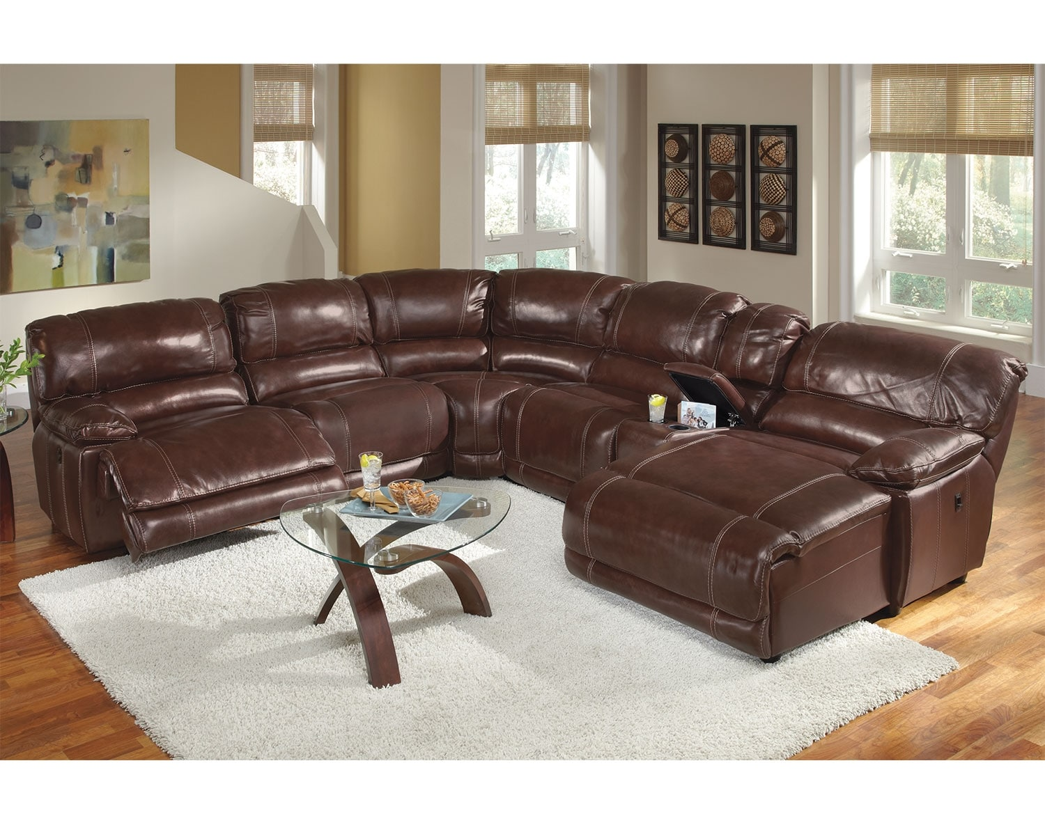 Leather living room furniture - The St Malo Collection Burgundy