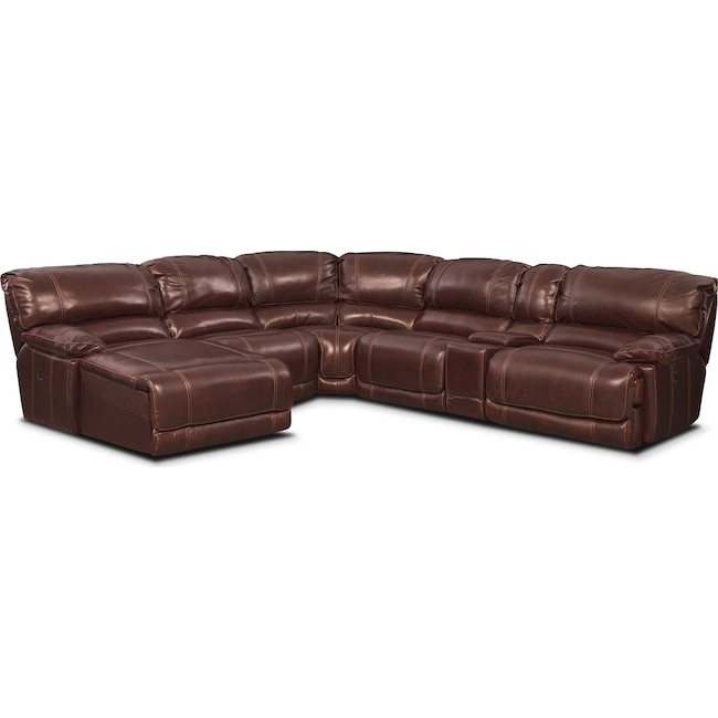 Living Room Furniture - St. Malo 6-Piece Power Reclining Sectional with Left-Facing Chaise - Burgundy