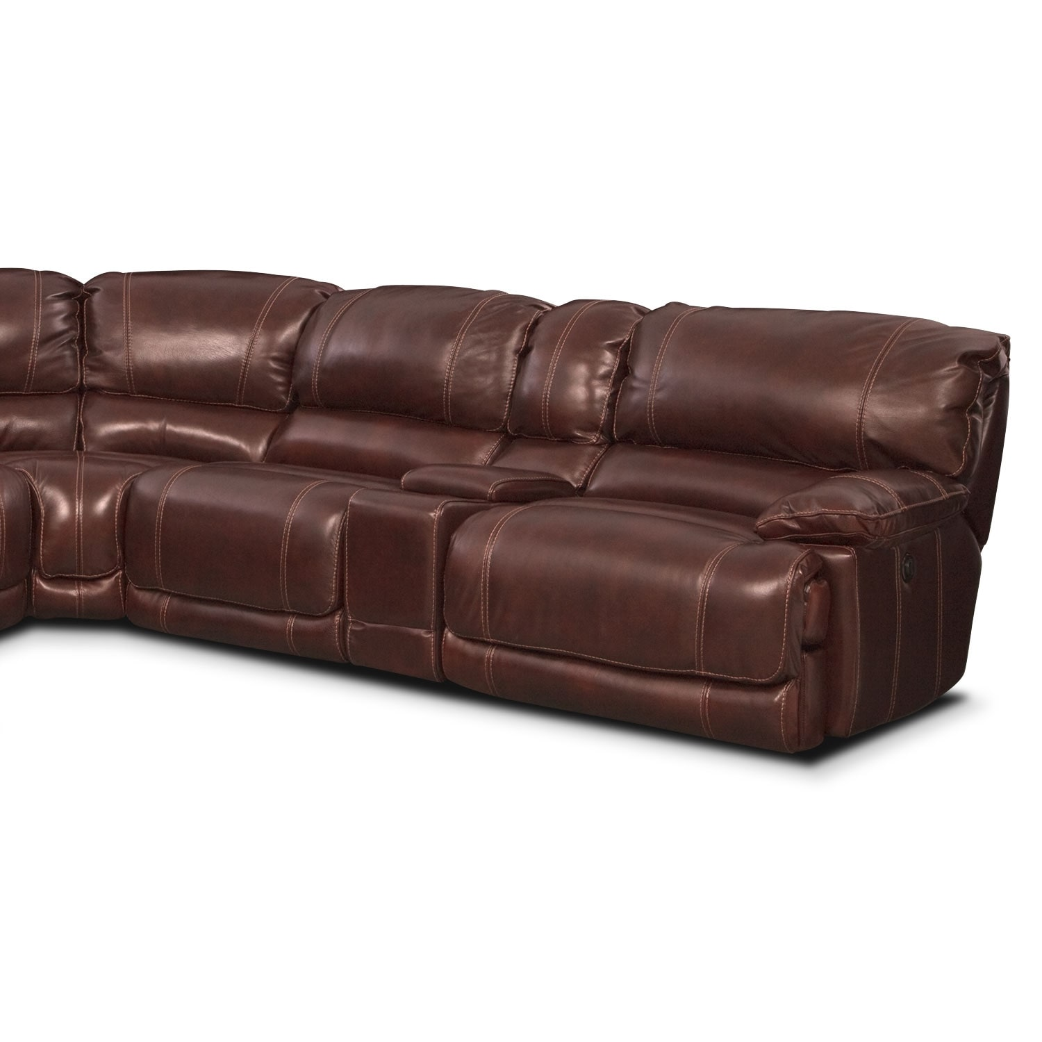 St malo 6 piece power reclining sectional with left for Burgundy leather chaise