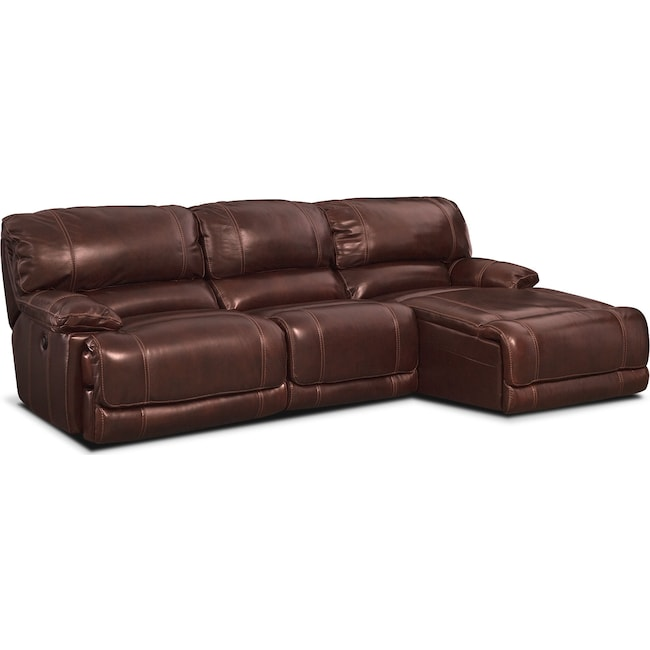 Living Room Furniture - St. Malo 3-Piece Power Reclining Sectional with  Right-Facing Chaise - Burgundy
