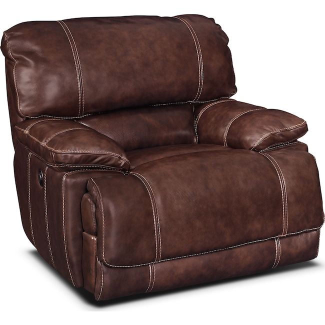 Living Room Furniture - St. Malo Power Recliner - Burgundy