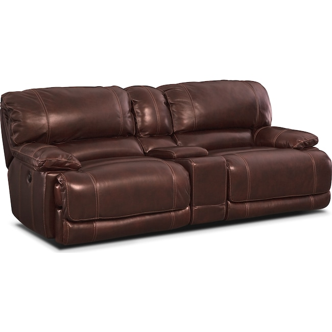 Living Room Furniture - St. Malo Power Reclining Sofa with Console - Burgundy
