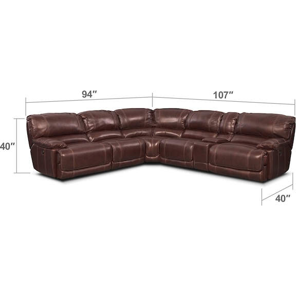 Living Room Furniture - St. Malo 6-Piece Power Reclining Sectional with Modular Console - Burgundy