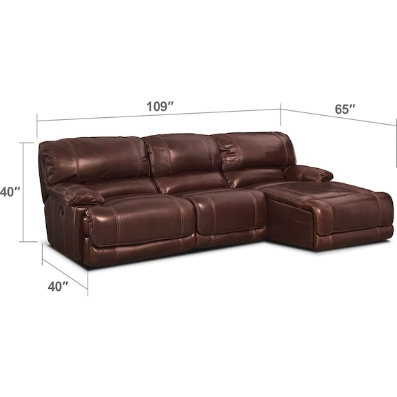 Living Room Furniture - St. Malo 3-Piece Power Reclining Sectional with Chaise