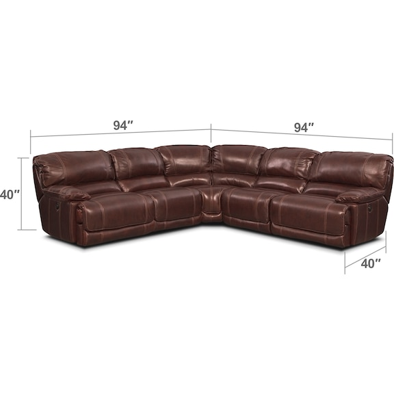 Living Room Furniture - St. Malo 5-Piece Right-Facing Power Reclining Sectional - Burgundy
