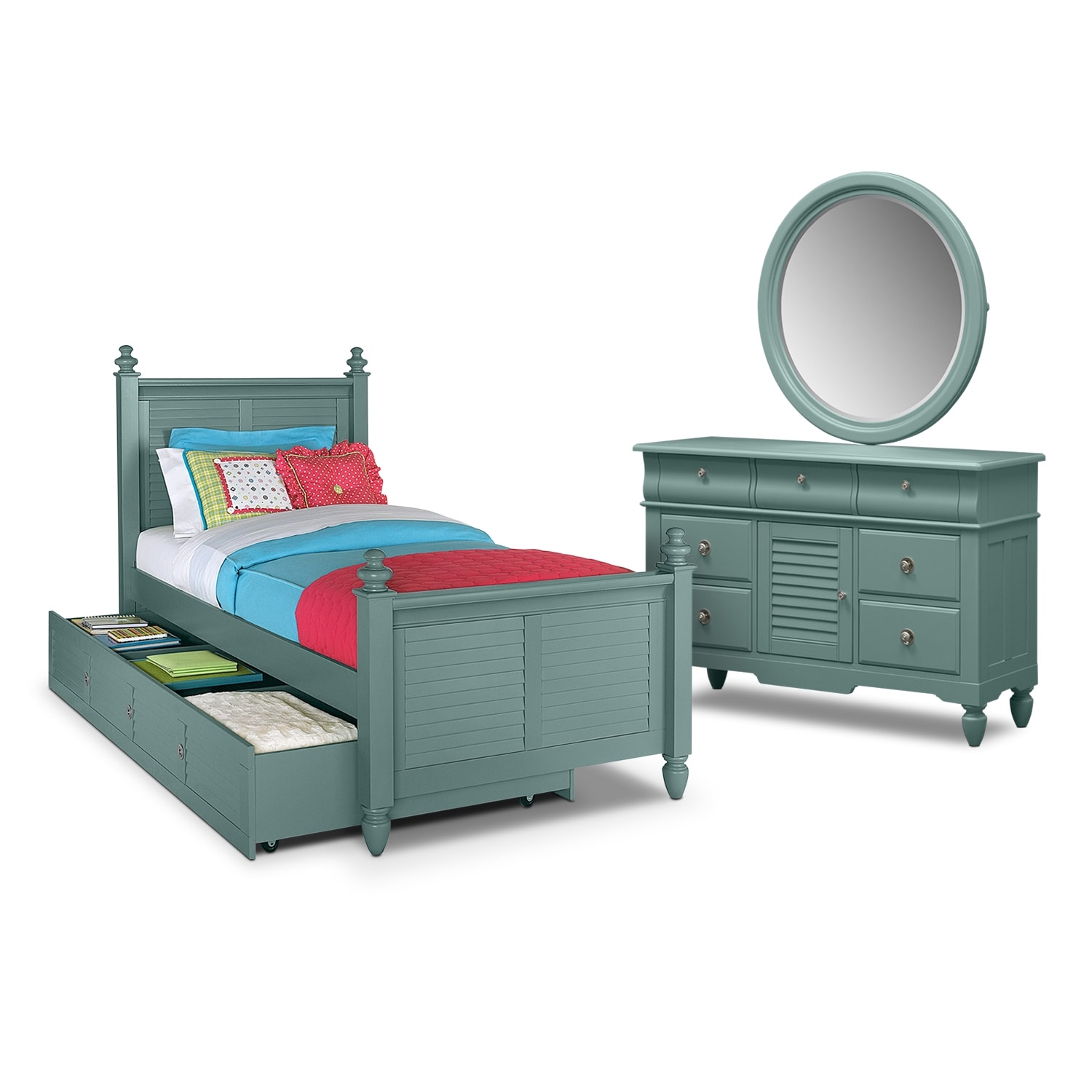 Kids Furniture - Seaside Blue 6 Pc. Full Bedroom with Trundle