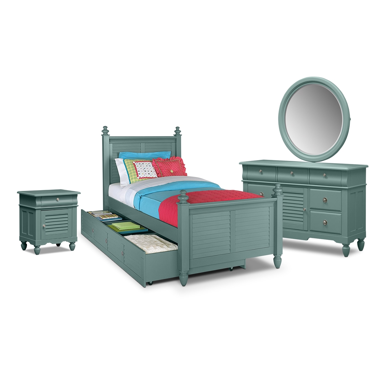 Kids Furniture - Seaside Blue 7 Pc. Twin Bedroom with Trundle