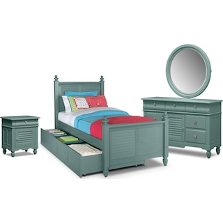 Seaside 7-Piece Full Bedroom Set with Trundle - Blue