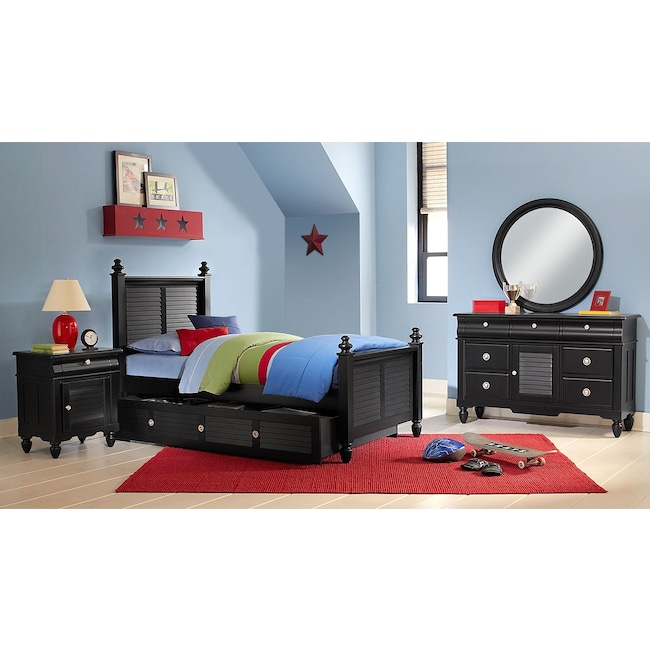 Kids Furniture - Seaside 7-Piece Twin Bedroom Set with Twin Trundle - Black