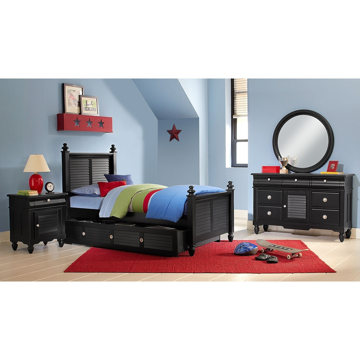 Seaside 7 Piece Twin Bedroom Set With Trundle   Black