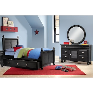 Seaside 6-Piece Twin Bedroom Set with Trundle - Black