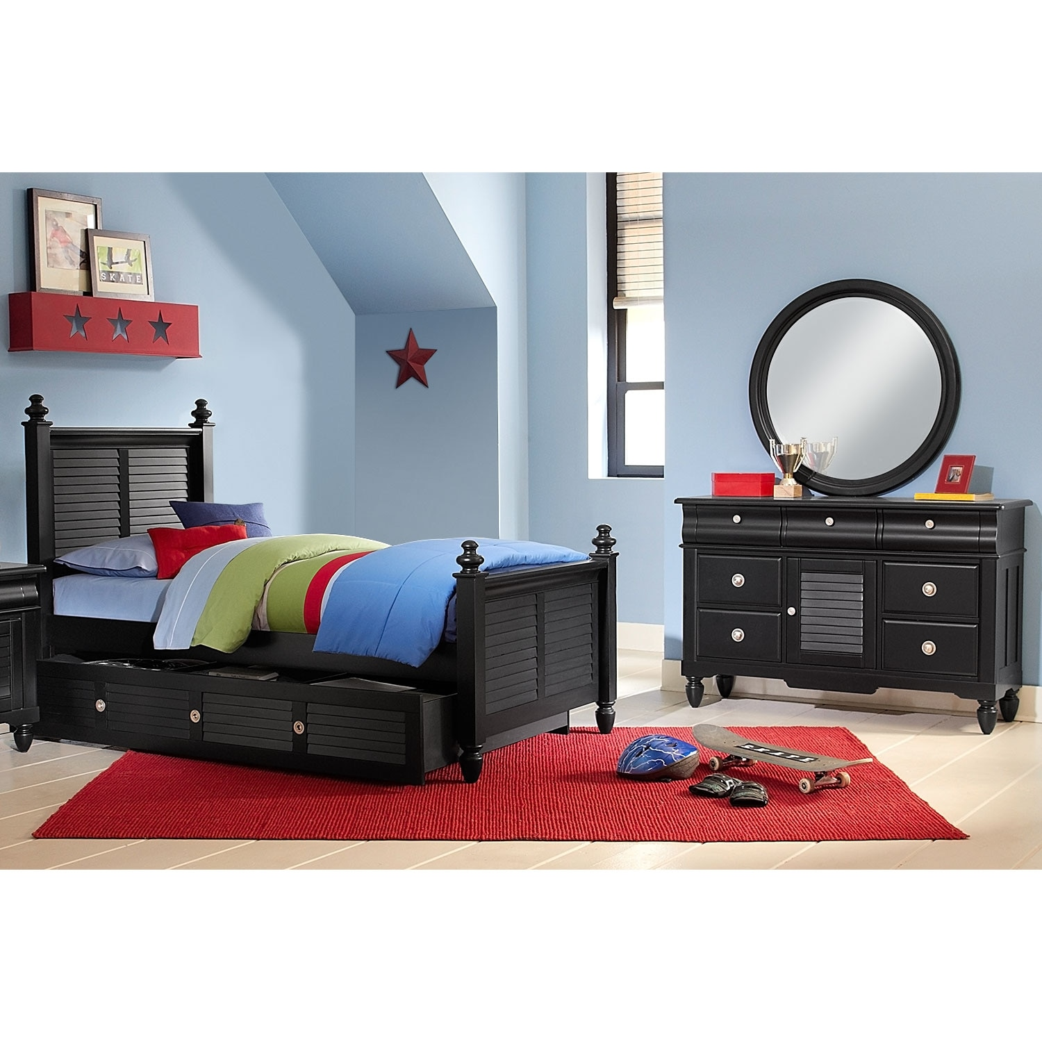 Seaside Black 6 Pc. Full Bedroom with Trundle