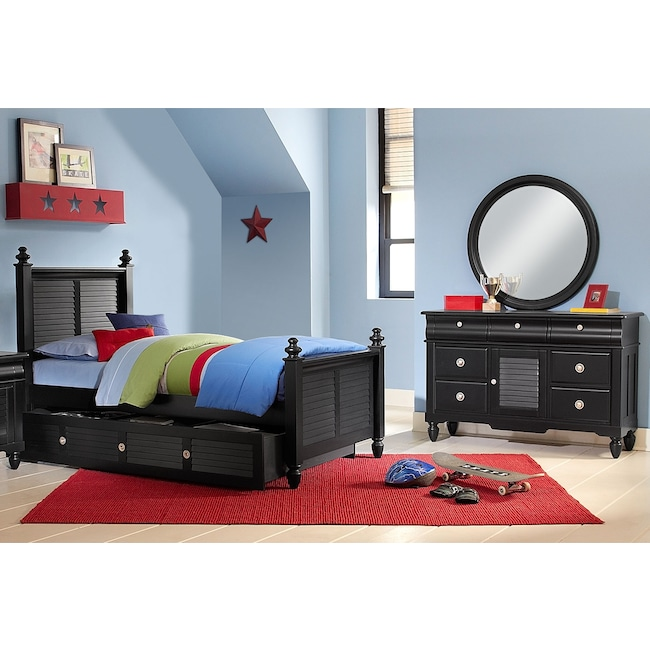 Kids Furniture - Seaside 6-Piece Full Bedroom Set with Trundle - Black