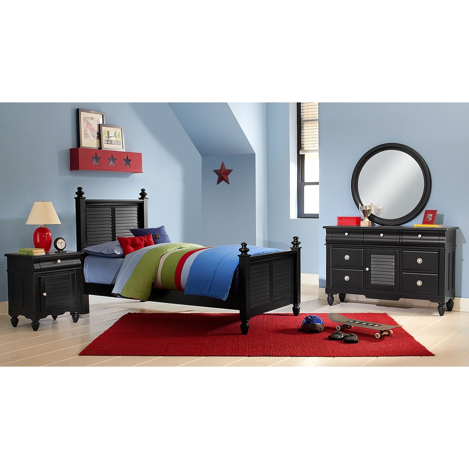 Seaside 6-Piece Twin Bedroom Set - Black