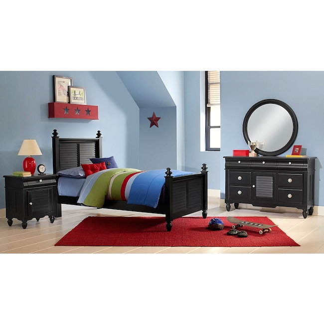 Kids Furniture - Seaside 6-Piece Twin Bedroom Set - Black