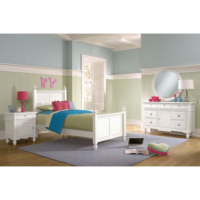 Kids Furniture - Seaside 6-Piece Full Bedroom Set - White