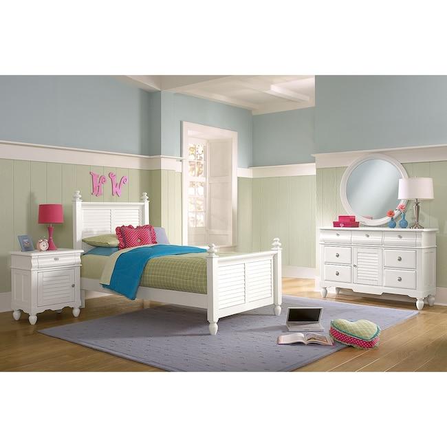 Kids Furniture - Seaside 6-Piece Twin Bedroom Set - White