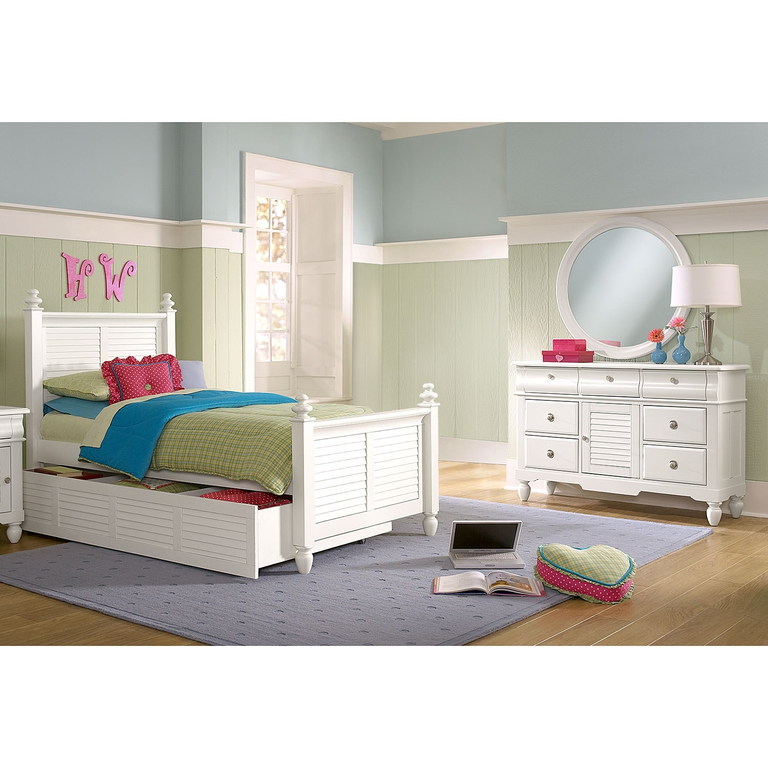 Kids Furniture - Seaside 6-Piece Twin Bedroom with Trundle - White