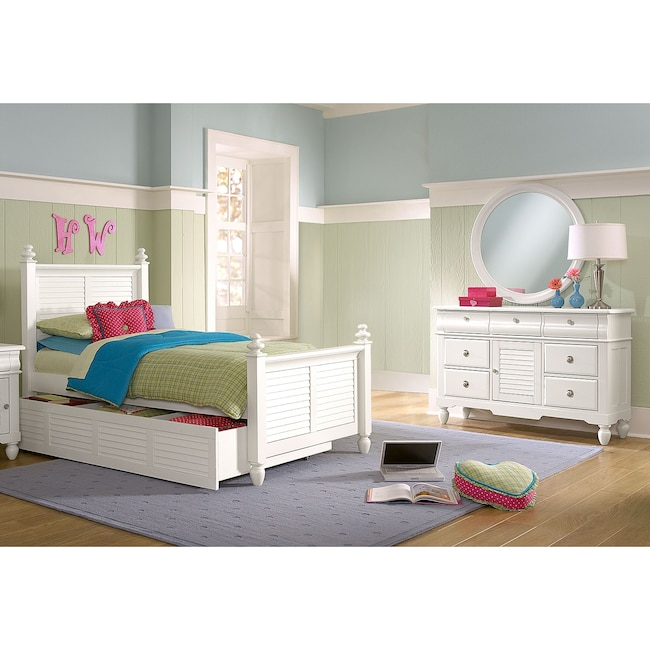 Kids Furniture - Seaside 6-Piece Full Bedroom Set with Trundle - White