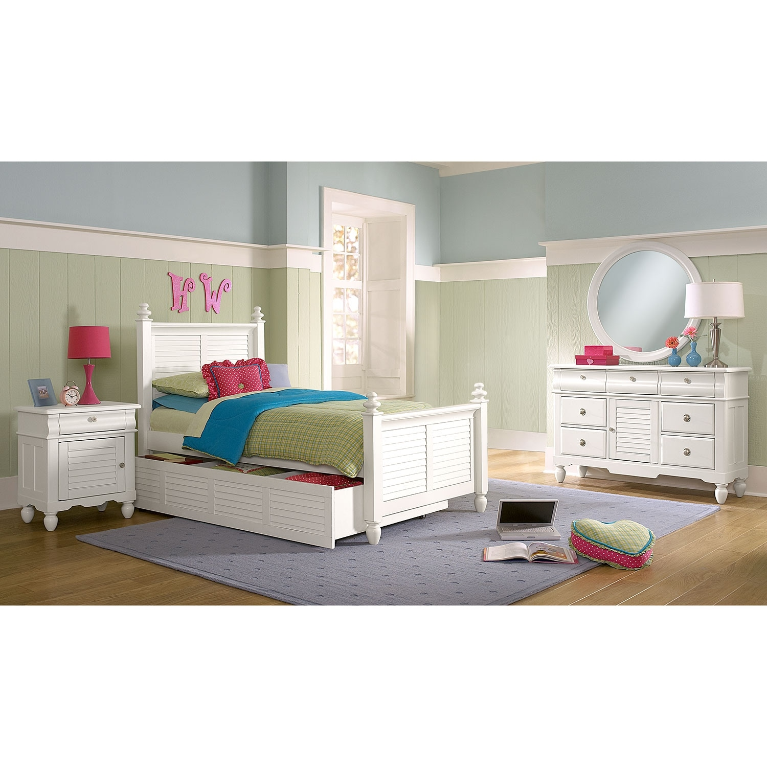Kids Furniture - Seaside 7-Piece Twin Bedroom Set with Trundle - White