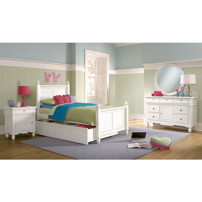 Kids Furniture - Seaside 7-Piece Twin Bedroom Set with Twin Trundle - White