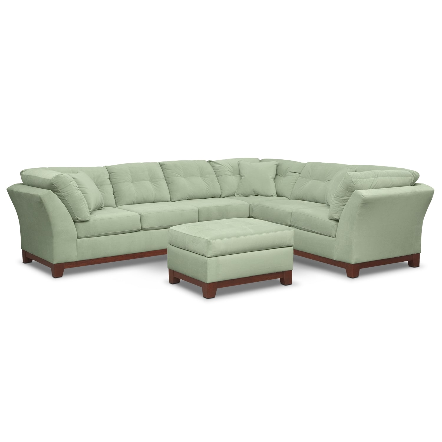 Living Room Furniture - Solace Spa II 3 Pc. Sectional (Reverse) and Ottoman