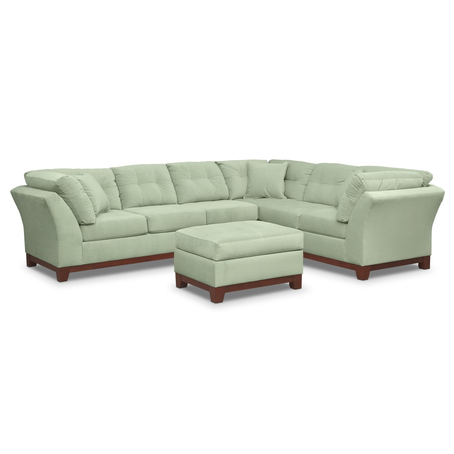 Living Room Furniture - Solace Spa II 2 Pc. Sectional (Reverse) and Ottoman