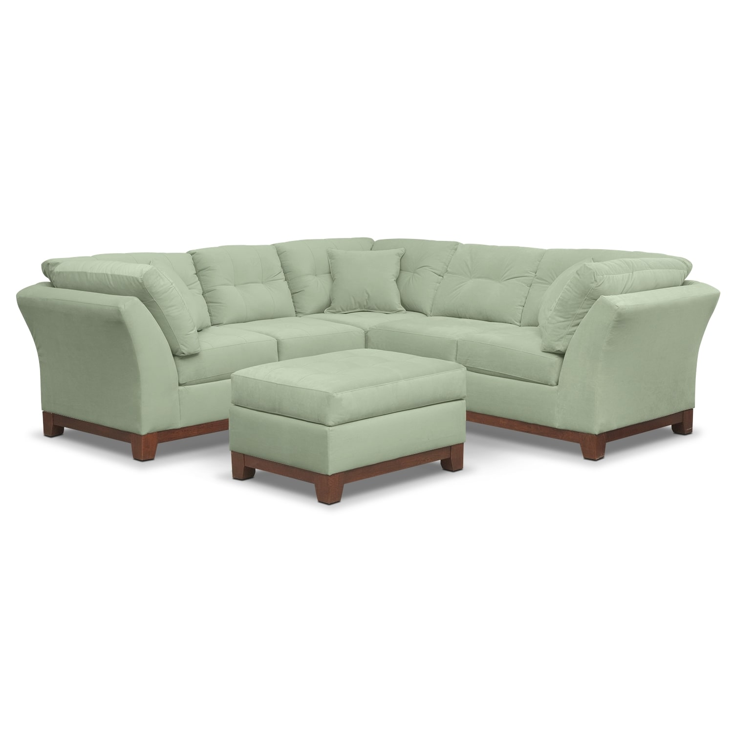 Living Room Furniture - Solace Spa II 2 Pc. Sectional (Alternate II Reverse) and Ottoman