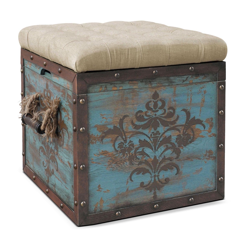 Teca Storage Ottoman - Blue