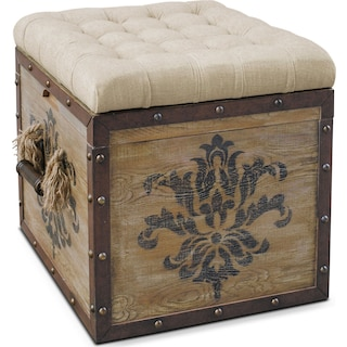 Teca Storage Ottoman - Rustic