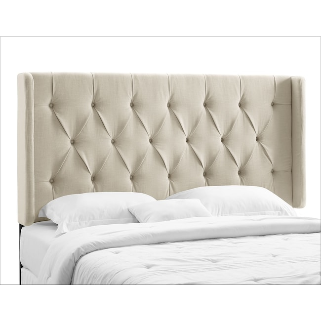 Bedroom Furniture - Winston King/California King Upholstered Headboard - Cream