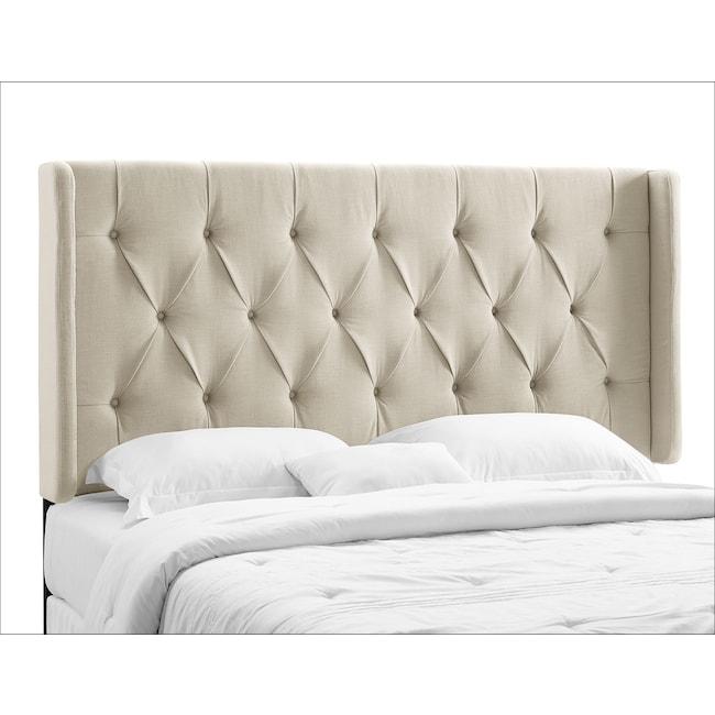 Bedroom Furniture - Winston King/California King Upholstered Headboard - Cream