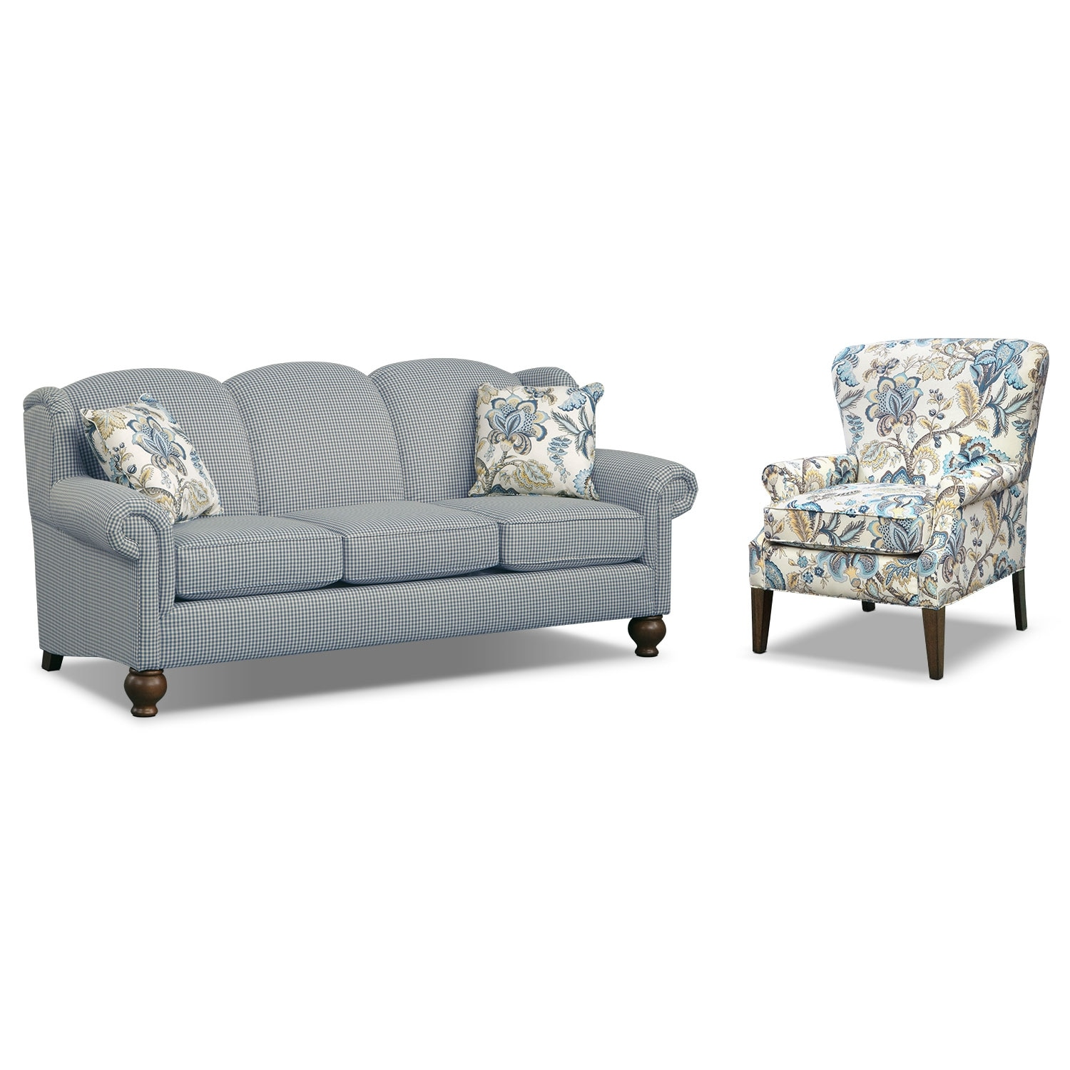 Living Room Furniture - Charlotte III 2 Pc. Living Room w/Accent Chair