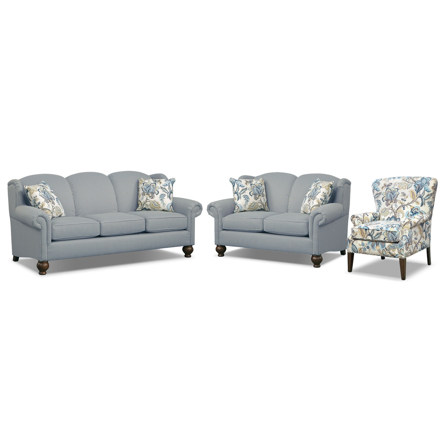 Living Room Furniture - Charlotte III 3 Pc. Living Room w/ Accent Chair