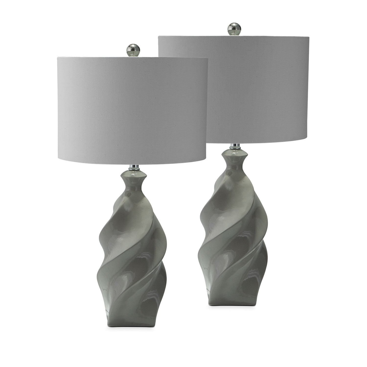 Gray Ceramic 2-Pack Table Lamp Set