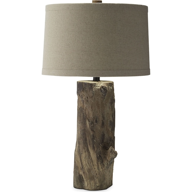 Home Accessories - Faux Wood Stump Table Lamp