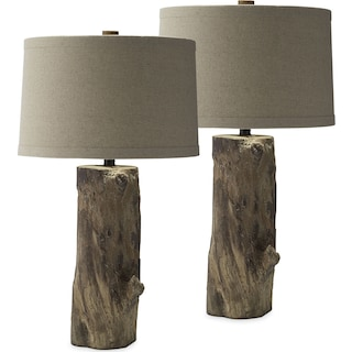 Faux Wood Stump 2-Pack Table Lamp Set