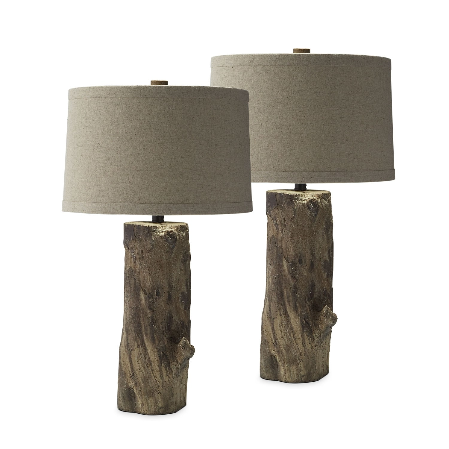 Home Accessories   Faux Wood Stump 2 Pack Table Lamp Set